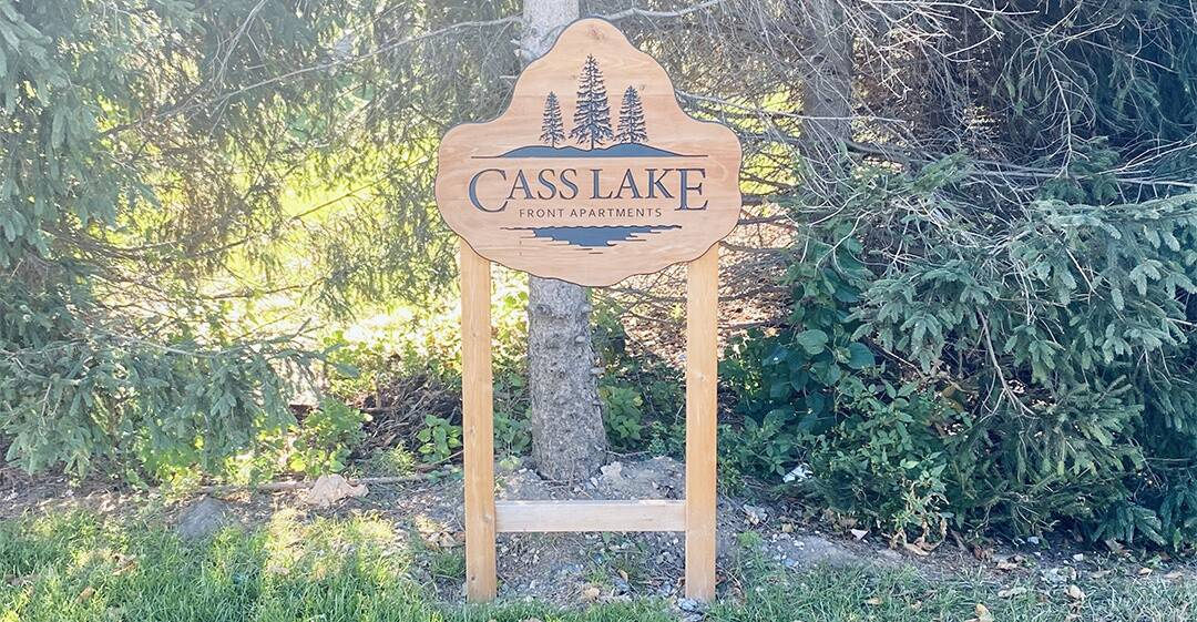 Cass Lake Front Apartments Signage