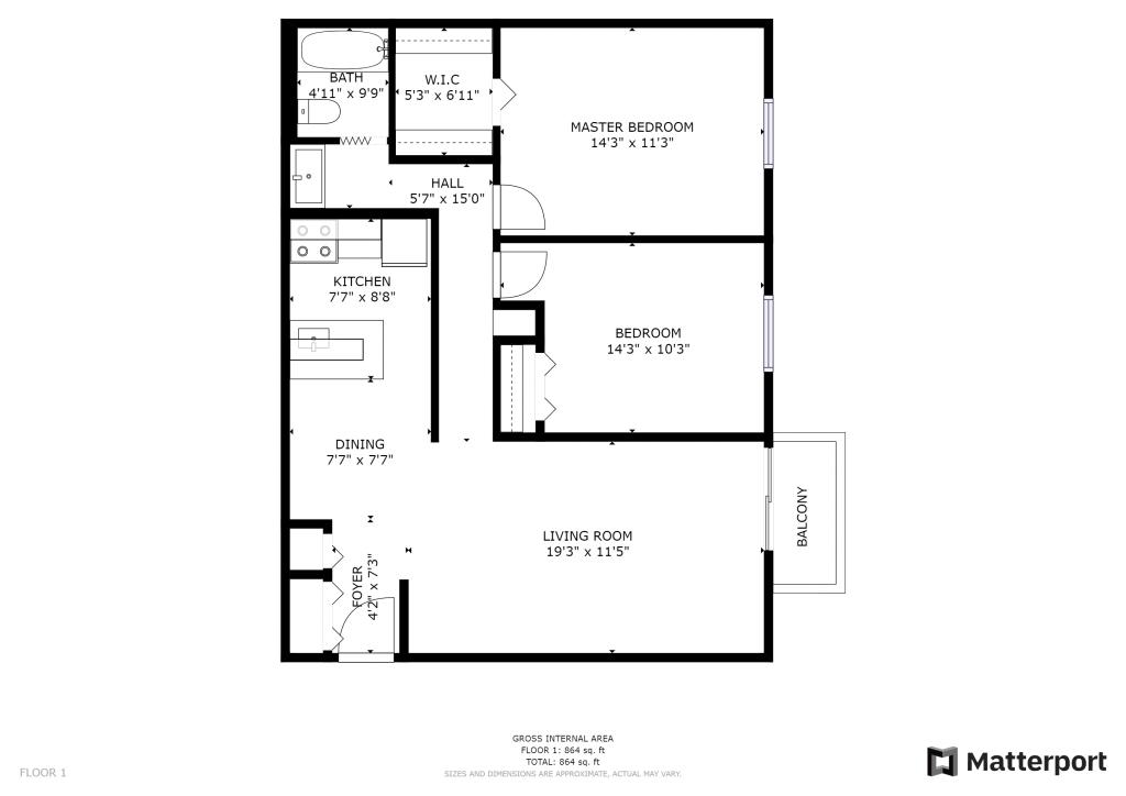 2BR Cass Lake Apartment Floor Plan