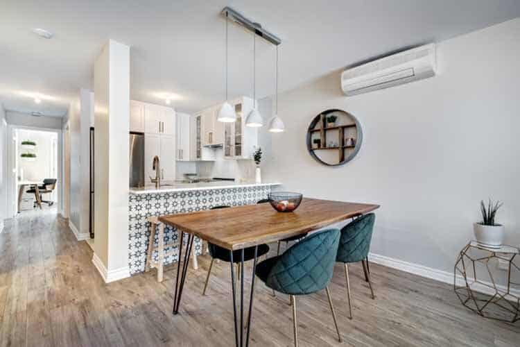 Full set of small modern luxury well staged apartment with bathroom and kitchen in a condominium